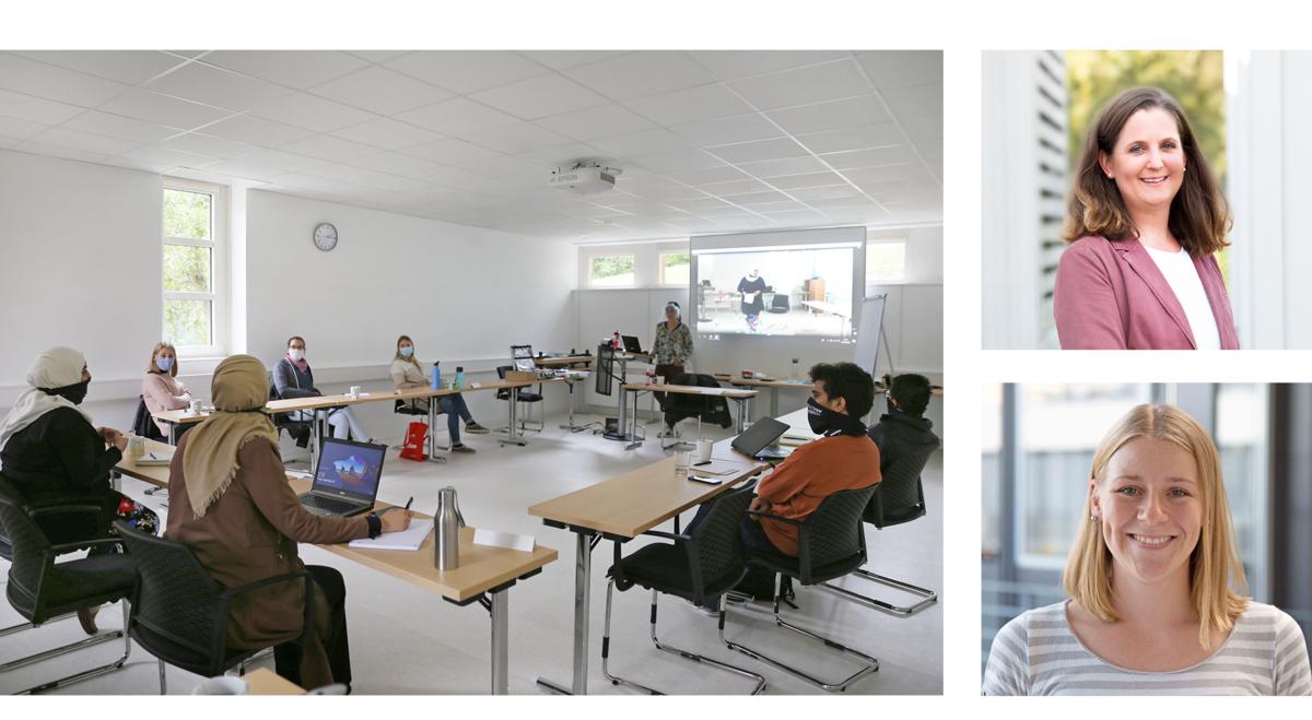 Auf Abstand und mit Maske, aber zumindest gemeinsam vor Ort, durfte 2020 der PhD-Workshop stattfinden.<br /> Oben rechts: Wiebke Bartels, Referentin für Personalentwicklung.<br /> Unten links: Julia Lill, Doktorandin in der Arbeitsgruppe Bio-Fluorescence. © ISAS.